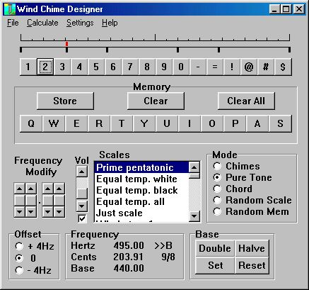 Main screen of wind chime program